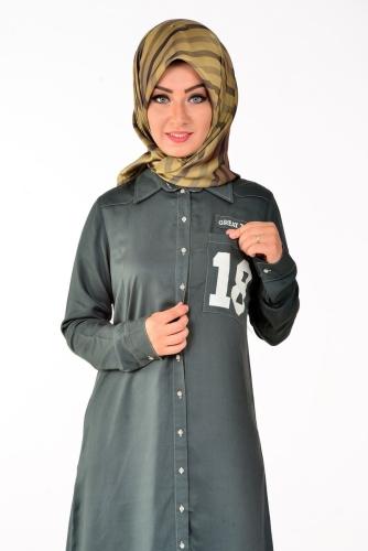 - Allday Tunik Gömlek Neft Yeşili-50717 (1)
