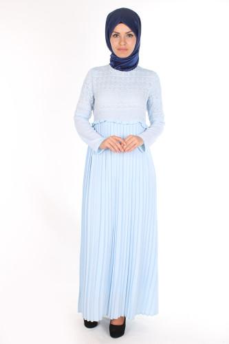 - Alya Pileli Elbise-1756Mavi