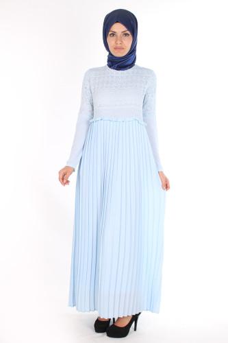 - Alya Pileli Elbise-1756Mavi (1)