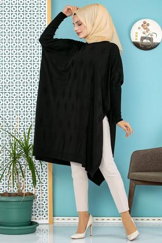 Modaebva - Baklava Desenli Triko Panço Tunik-310 Siyah