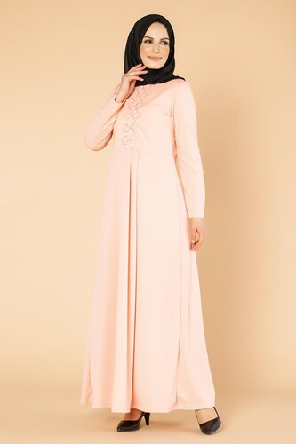 Modaebva - Baskı Düğme Detaylı Tesettür Elbise-1731 Pudra