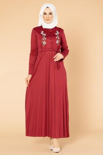 Modaebva - Baskı Düğmeli Nakışlı Tesettür Elbise-1696 Bordo