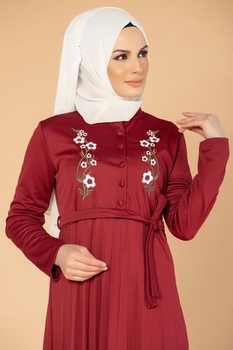 Modaebva - Baskı Düğmeli Nakışlı Tesettür Elbise-1696 Bordo (1)