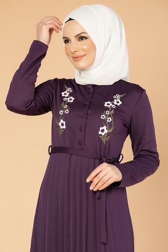 Modaebva - Baskı Düğmeli Nakışlı Tesettür Elbise-1696 Mor (1)