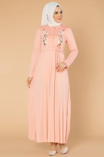 Modaebva - Baskı Düğmeli Nakışlı Tesettür Elbise-1696 Pudra
