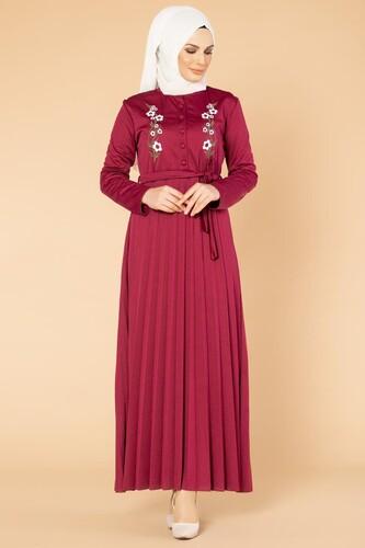 Modaebva - Baskı Düğmeli Nakışlı Tesettür Elbise-1696 Şarabi