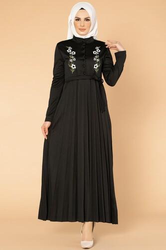Modaebva - Baskı Düğmeli Nakışlı Tesettür Elbise-1696 Siyah