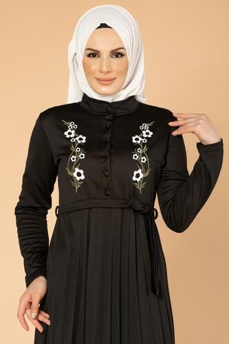 Modaebva - Baskı Düğmeli Nakışlı Tesettür Elbise-1696 Siyah (1)