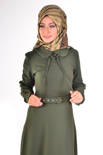 - Bebe Yaka Omuz Detaylı Kemerli Elbise Yeşil-4023 (1)