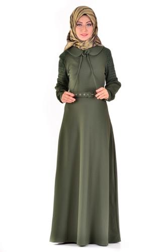 - Bebe Yaka Omuz Detaylı Kemerli Elbise Yeşil-4023