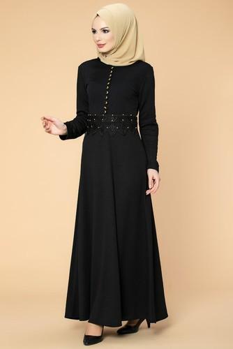 Modaebva - Bel Güpür ve İnci Detaylı Tesettür Elbise-0661 Siyah