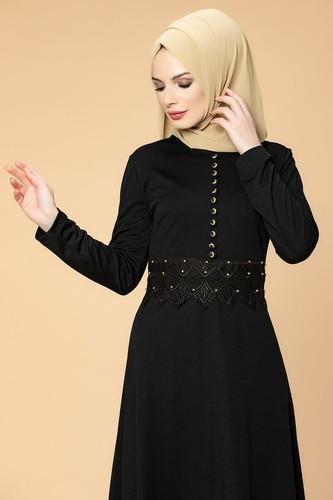 Modaebva - Bel Güpür ve İnci Detaylı Tesettür Elbise-0661 Siyah (1)