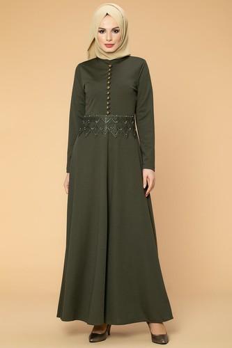 Modaebva - Bel Güpür ve İnci Detaylı Tesettür Elbise-0661 Hakiyeşili
