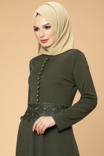 Modaebva - Bel Güpür ve İnci Detaylı Tesettür Elbise-0661 Hakiyeşili (1)