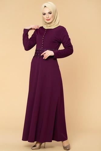 Modaebva - Bel Güpür ve İnci Detaylı Tesettür Elbise-0661 Mürdüm