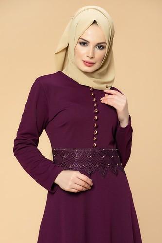 Modaebva - Bel Güpür ve İnci Detaylı Tesettür Elbise-0661 Mürdüm (1)