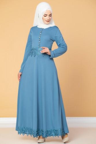 - Bel Ve Etek Ucu Güpür Detay Elbise-0660 Bebemavisi