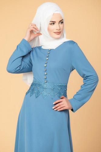 - Bel Ve Etek Ucu Güpür Detay Elbise-0660 Bebemavisi (1)
