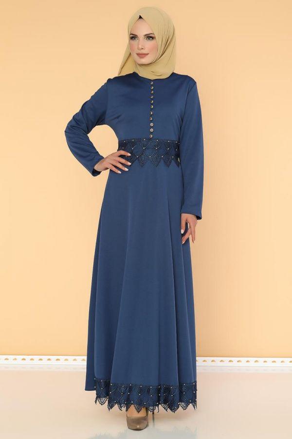 Bel Ve Etek Ucu Güpür Detay Elbise-0660Mavi