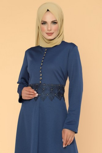 Bel Ve Etek Ucu Güpür Detay Elbise-0660Mavi - Thumbnail