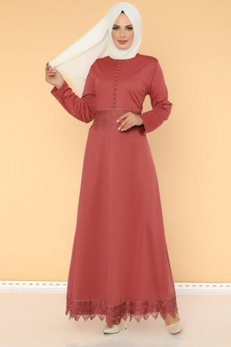- Bel Ve Etek Ucu Güpür Detay Elbise-0660 Gülkurusu
