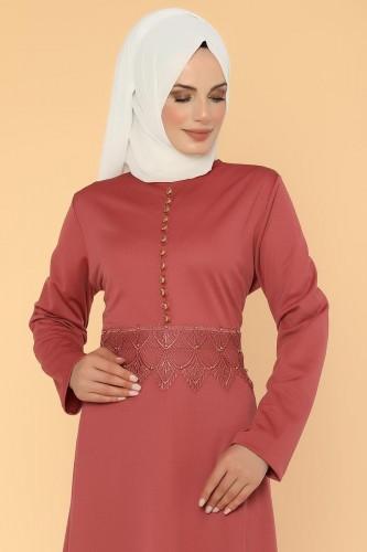 - Bel Ve Etek Ucu Güpür Detay Elbise-0660 Gülkurusu (1)