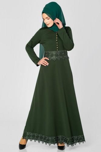 - Bel Ve Etek Ucu Güpür Detay Elbise-0660 Hakiyeşil