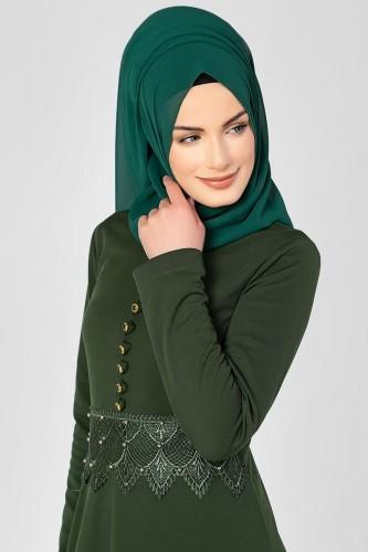 - Bel Ve Etek Ucu Güpür Detay Elbise-0660 Hakiyeşil (1)