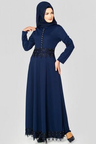 - Bel Ve Etek Ucu Güpür Detay Elbise-0660 Lacivert