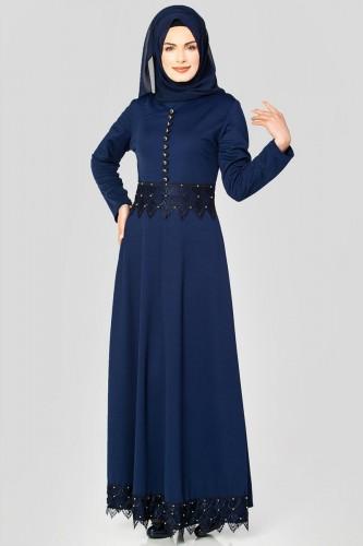 Bel Ve Etek Ucu Güpür Detay Elbise-0660 Lacivert - Thumbnail