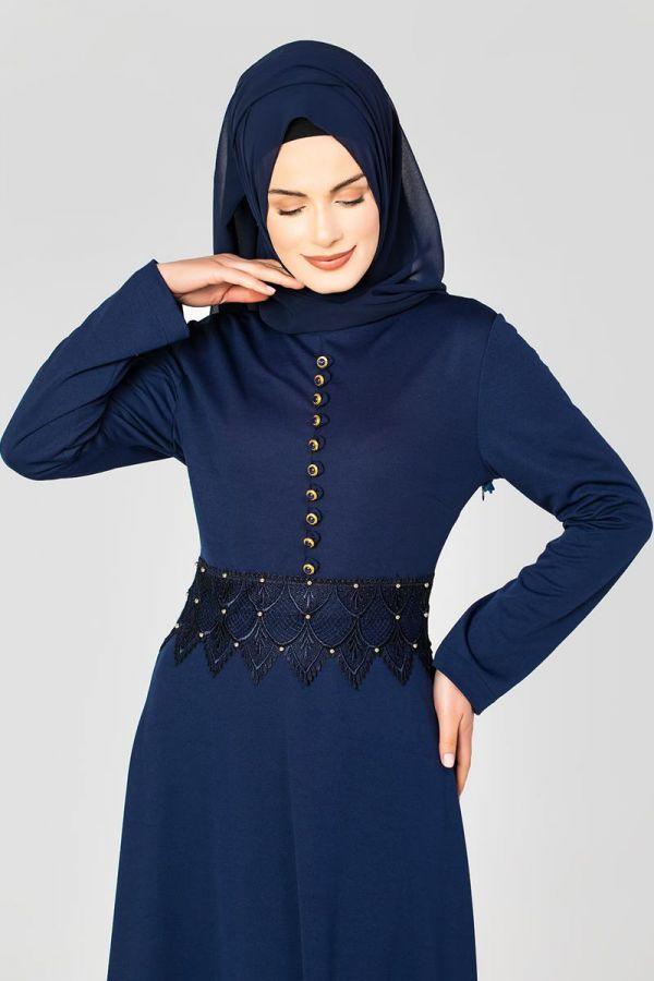 Bel Ve Etek Ucu Güpür Detay Elbise-0660 Lacivert
