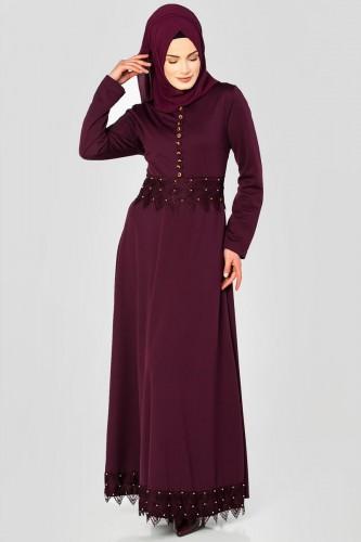 - Bel Ve Etek Ucu Güpür Detay Elbise-0660 Mürdüm