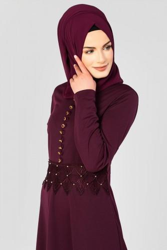 - Bel Ve Etek Ucu Güpür Detay Elbise-0660 Mürdüm (1)