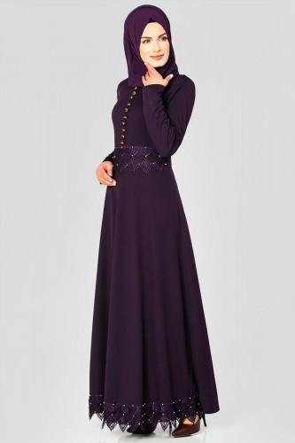- Bel Ve Etek Ucu Güpür Detay Elbise-0660 Patlıcanmoru