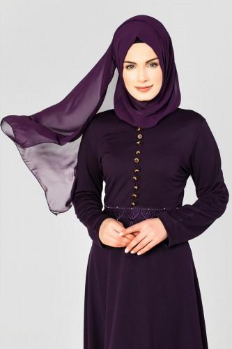 - Bel Ve Etek Ucu Güpür Detay Elbise-0660 Patlıcanmoru (1)