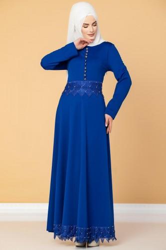 - Bel Ve Etek Ucu Güpür Detay Elbise-0660 Saksmavisi