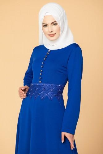 - Bel Ve Etek Ucu Güpür Detay Elbise-0660 Saksmavisi (1)