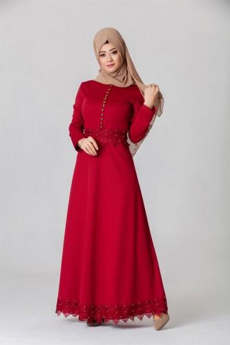 - Bel Ve Etek Ucu Güpür Detay Elbise-0660Bordo