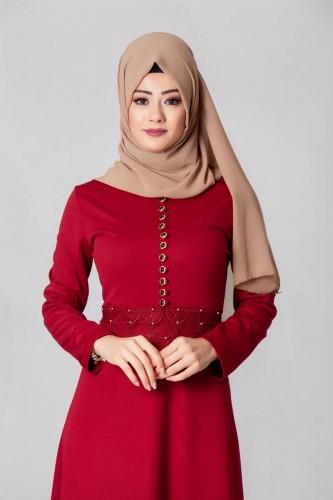 - Bel Ve Etek Ucu Güpür Detay Elbise-0660Bordo (1)