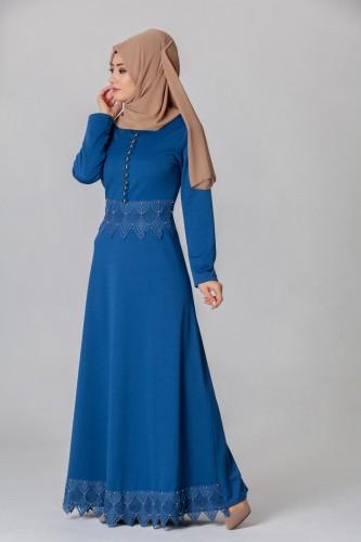 - Bel Ve Etek Ucu Güpür Detay Elbise-0660İndigo
