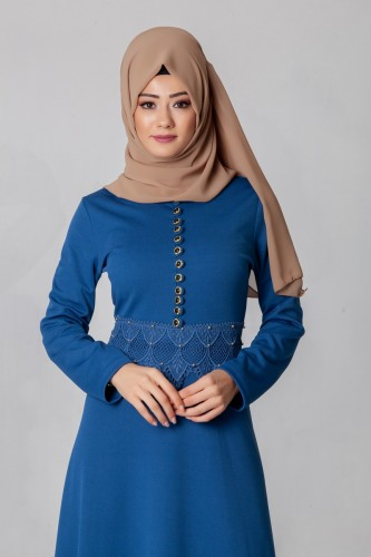 - Bel Ve Etek Ucu Güpür Detay Elbise-0660İndigo (1)