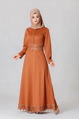 - Bel Ve Etek Ucu Güpür Detay Elbise-0660Kiremit
