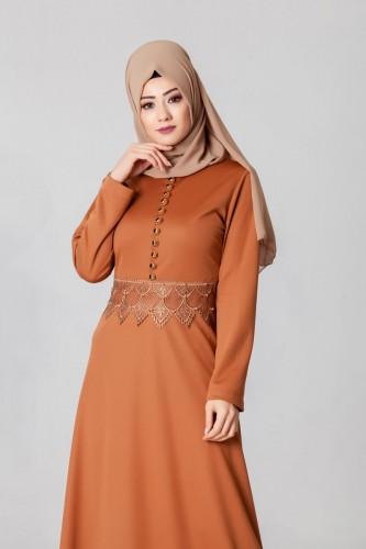 - Bel Ve Etek Ucu Güpür Detay Elbise-0660Kiremit (1)