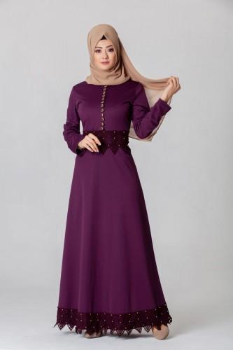 - Bel Ve Etek Ucu Güpür Detay Elbise-0660Mor