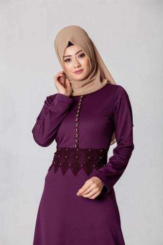 - Bel Ve Etek Ucu Güpür Detay Elbise-0660Mor (1)