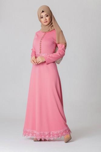 - Bel Ve Etek Ucu Güpür Detay Elbise-0660Pudra