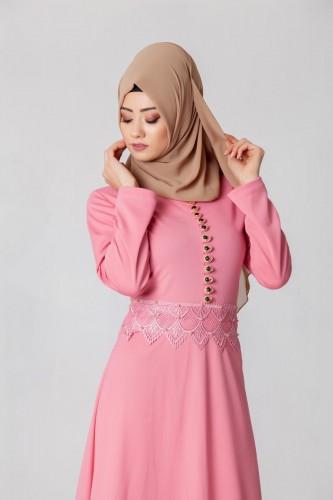 - Bel Ve Etek Ucu Güpür Detay Elbise-0660Pudra (1)