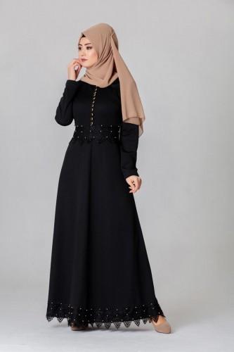 - Bel Ve Etek Ucu Güpür Detay Elbise-0660Siyah