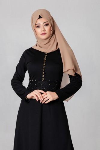 - Bel Ve Etek Ucu Güpür Detay Elbise-0660Siyah (1)