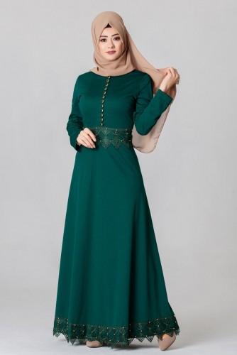 - Bel Ve Etek Ucu Güpür Detay Elbise-0660Zümrütyeşili